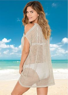 Sexy Cold Shoulder Cover-Up in Natural cover-up by VENUS online, for a little extra sun protection. Chiffon Cover Up, Crochet Summer Dresses, Solange, Crochet Cover Up, Crochet Bikini, Lace Bikini, Bikini Swimsuit, Crochet Lace, Swimwear Fashion