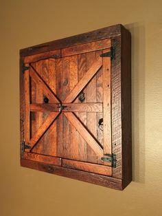 Basement Bar Plans, Basement Bar Designs, Basement Ideas, Western Decor, Rustic Decor, Rustic Wood, Dart Board Cabinet, Barn Door Designs, Game Room Design