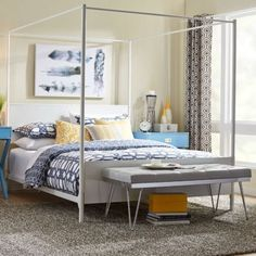 Full-size-Sturdy-Metal-Canopy-Bed-in-Contemporary-White-Finish