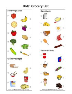 This master grocery list is great for shopping with kids. Each picture has a check mark box so children can help pick out groceries. It includes sections for meat, produce, dairy and grains. Free to download and print