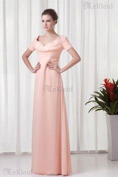 Prinzessin A-Linie Reißverschluss V-Ausschnitt Brautjungfernkleid ohne Ärmeln - Bild 1