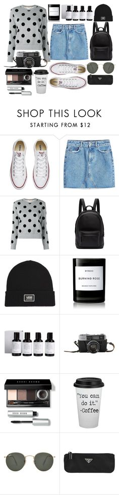 """""""white sneakers"""" by themarshmallowmadness ❤ liked on Polyvore featuring Converse, Anine Bing, Comme des Garçons, PB 0110, Vans, Byredo, Bobbi Brown Cosmetics, Ray-Ban and Prada"""