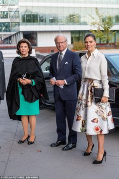 Crown Princess Victoria of Sweden joined her parents Queen Silvia and King Carl XVI Gustaf for a symposium at theKarolinska Institute in Stockholm to mark the 70th birthday of H&M's founder