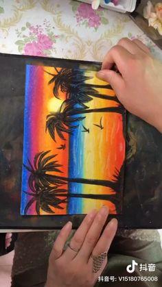 Oil Pastel Drawings Easy, Art Drawings Sketches Simple, Oil Pastel Paintings, Oil Pastel Art, Art Drawings Beautiful, Oil Pastels, Art Drawings For Kids, Canvas Painting Tutorials, Diy Canvas Art