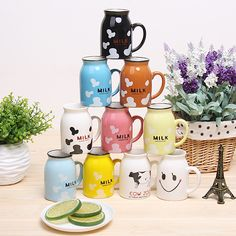 Cheap Mugs on Sale at Bargain Price, Buy Quality cups and mugs, mug stoneware, mug cup holder from China cups and mugs Suppliers at Aliexpress.com:1,Shape:Handgrip 2,Style:Cartoon 3,Color:Army Green, Sky Blue, Light Grey, Light Green, Light Yellow, 4,is_customized:Yes 5,Ceramic Type:Clay
