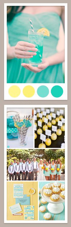 #Wedding #Colours... 3 main colours:- charcoal, white & tiffany blue + 2 accent colours:- daffodil & candlelight. For more colour ideas http://pinterest.com/groomsandbrides/wedding-colour-combinations/ ...