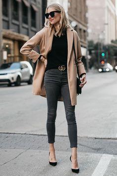 Blonde Woman Wearing Topshop Camel Coat Black Sweater Grey Skinny Jeans Gucci Marmont Belt Christian Louboutin Black Pumps Fashion Jackson Dallas Blogger Fashion Blogger Street Style