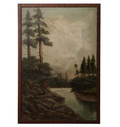 Large and Lovely Original Oil Landscape by R. Gilbert  Circa 1910 G1198
