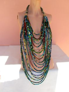 Multi strand fabric necklace/OOAK African fashion by nad205