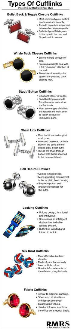 All types of cufflink for men #men #cufflink #fashion #guide #affiliate