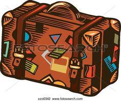 Clip Art - valigia, coperto, in, bagaglio, etichette szo0342 - Cerca Clipart, Poster illustrazioni, Disegni e Immagini grafiche vettoriali EPS - szo0342.eps