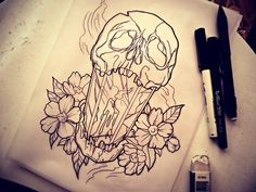 smoke tattoo flowers skull leaves candle tattoo design leaf ...