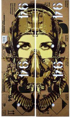 """by Tankpetrol - """"Pilot Nitro"""" - Stencil and spray on cardboard box - 2013"""