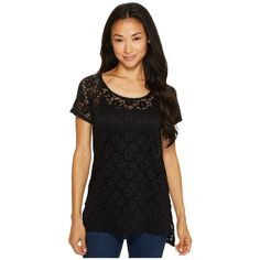 Roper 0981 Stretch Lace Short Sleeve Top (Black) (€28) ❤ liked on Polyvore featuring tops, sweater pullover, night out tops, babydoll tops, raglan sleeve top and pullover top