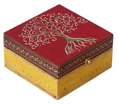 """Bulk Wholesale Handmade 5.5"""" Rectangular Mango-Wood Jewelry Box in Red & Yellow Color Decorated with Cone –Painting Art in Bright Colors & a Metal Knob – Ethnic-Look Boxes from India"""