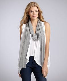 f633402d5d8ce Wyatt   white jersey knit boxy sleeveless top and scarf