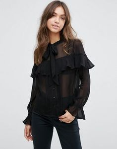 ASOS Ultimate Pussy Bow Ruffle Blouse