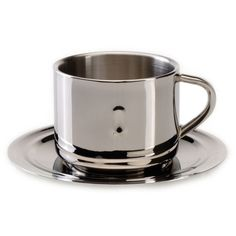 BergHOFF International Straight 6.4 oz. Coffee Cup (26 CAD) ❤ liked on Polyvore featuring home, kitchen & dining, drinkware, stainless steel drinkware, oz cup, stainless coffee cup, stainless steel mug and stainless cup