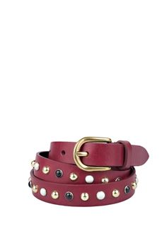 Isabel Marant leather belt with studs and crystal detail