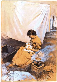 En el lavadero: amor de madre. Obra de Cecilio Pla