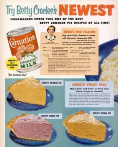 Carnation Milk featuring Betty Crocker Frosty Fruit Pies r… Retro Recipes, Vintage Recipes, Betty Crocker Pie Recipe, Pie Dessert, Dessert Recipes, Dessert Ideas, Cookbook Recipes, Cooking Recipes, Grandma's Recipes