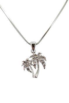 Waikiki Hawaii Tropical Beach Palm Tree with Crystals mini necklace