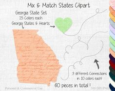 GEORGIA STATE to STATE Clipart Commercial Use by ClipArtBrat