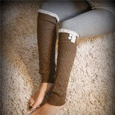 SALE SALE The Lacey Lou-Coffee Brown: Open-work Legwarmers w/ ivory knit lace trim and buttons - Leg warmers (item no. Grace And Lace, Knit Art, Sweaters And Jeans, Autumn Winter Fashion, Fall Fashion, Lace Knitting, Get Dressed, Leg Warmers, Sale Sale