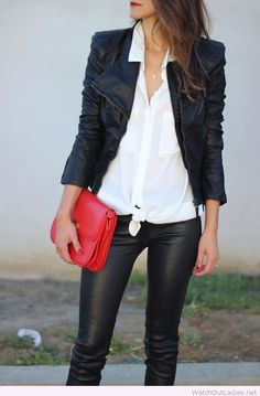 Black leather pants and jacket with white shirt and red bag
