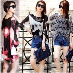 Fashion Women Sexy Chiffon Batwing Shirt Tops Bohemian Floral Long Sleeve Blouse   eBay