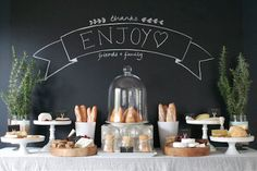 "Create a buffet that will allow guests to snack while easily continuing to mingling. Think of ""fork friendly"" foods"