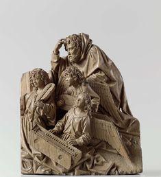 Adriaen van Wesel | Mary, Joseph and three angels, Adriaen van Wesel, c. 1475 - c. 1477 | Op een sterk oplopend grondje en voor een opstaande wand knielen drie naar links gerichte engelen: één laat beide handen glijden over de dubbele rij toetsen van een opengeslagen clavichord en schijnt daarbij te zingen; de engel vooraan links, blij toeziend, houdt een vedel tegen de schouder; de derde leunt met vreugdevolle nieuwsgierigheid naar voren en bespeelt de luit. Achter hen buigt Jozef zich met…