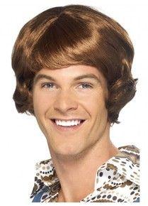 Disco Tragic 70's 80's Brown Costume Wig