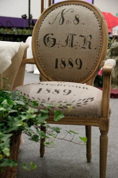 Antique German grain sack chairs. You could recover a found chair and use it anywhere in house.