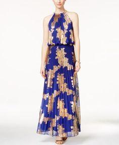 MSK Metallic-Print Pleated Blouson Gown | macys.com