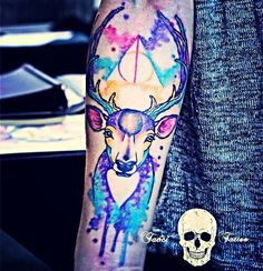 Watercolor galaxy deer harry potter tattoo design