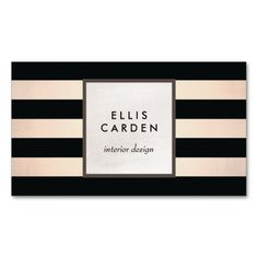 Cool Chic Black and Copper Striped Designer Pack Of Standard Business Cards. Black and rose gold stripes creates a chic sophisticated design. A stylish business card for interior designers, beauty salons, jewelry designers' fashion boutiques' event planners and more. Ready to customize and order.