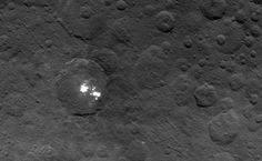 """Mystery haze appears above Ceres's bright spots.  Ceres, the biggest asteroid in the Solar System, has a haze that appears occasionally in a crater above some of its mysterious white spots.  The phenomenon, observed by NASA's Dawn spacecraft, suggests that the bright spots """"could be providing some atmosphere in this particular region of Ceres"""", says Christopher Russell, a planetary scientist at the University of California, Los Angeles."""