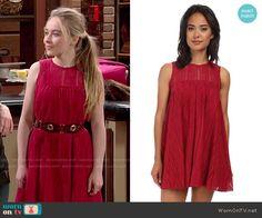 Maya's red lace dress on Girl Meets World. Outfit Details: http://wornontv.net/50986/ #GirlMeetsWorld