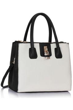 geanta alb negru - genti dama Fashion Bags, Purses And Bags, Backpacks, Handbags, Tote Bag, Designer Bags, Black And White, Pictures, Fashion Handbags