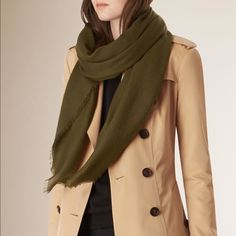 Army Green Scarf This military-green scarf has frayed edges and a little bit of tough sparkle on the bottom, making it the perfect finishing touch to your favorite leather jacket. Accessories Scarves & Wraps