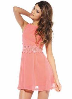 Coral Sequin Waist Chiffon Sleeveless Skater Dress,  Dress, Embellished, Chic