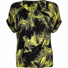 Lime palm leaf print V neck t-shirt $44.00