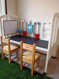 Upcycle an Old Crib. Love this idea. What about a Lego base with storage bins? Race track with storage for cars? Barbie playhouse?