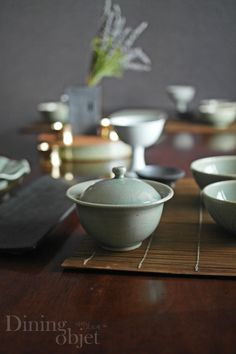 Korean Elegance celadon pottery bowl./ from Diningobjet.com