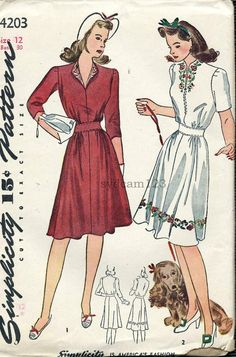 Simplicity 4203  Vintage 1940s Zip Front Embroidered  Dress Pattern