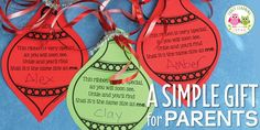 Make a simple parent gift with you classroom. Use this free printable Christmas ornament to make a meaningful Christmas gift for kids to give to parents.