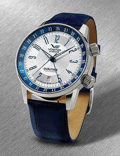 Vostok Europe Gaz-14 Limousine Dualtime Silver/Blue Watch 2426/5601057