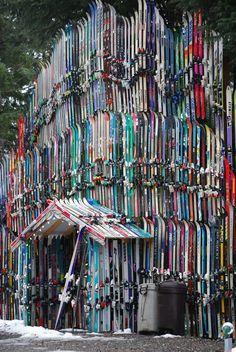 Ohmygosh !!!! House made of old skis....Douglas Island, Alaska.