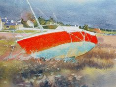 aquarelle_watercolor-red-sail-44 Cloud Tutorial, Watercolor Red, Painting Techniques, Videos, Sailing, Clouds, Boat House, Watercolours, Tutorials